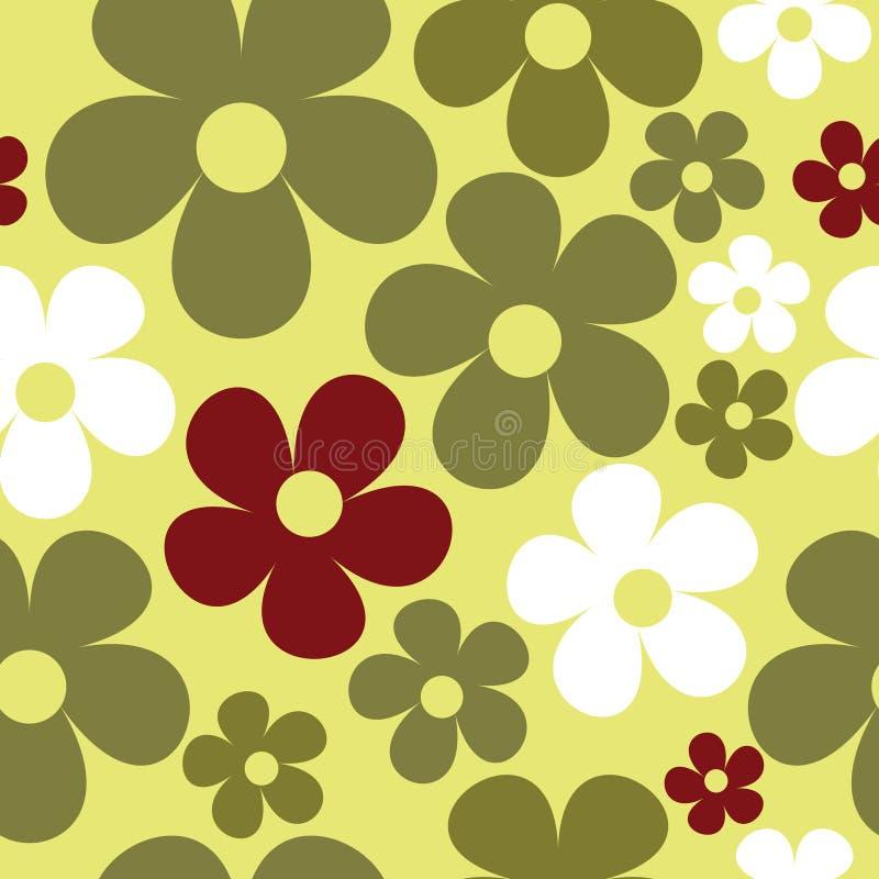 Wektorowy Bezszwowy Deseniowy Żółtej zieleni hipis Kwiecisty ilustracja wektor