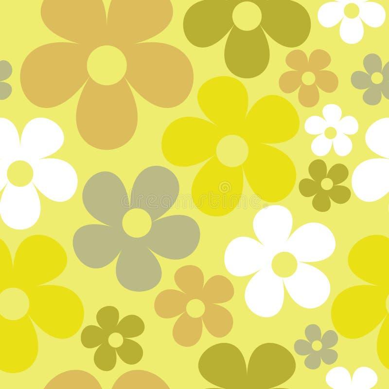 Wektorowy Bezszwowy Deseniowy Żółtej zieleni hipis Kwiecisty royalty ilustracja