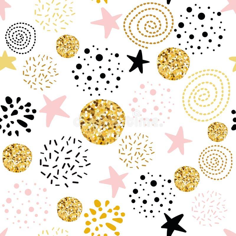 Wektorowy bezszwowy deseniowy abstrakcjonistyczny ornament dekorujący polki kropki gwiazd złotej, różowej, czarnej ręki rysujący  royalty ilustracja
