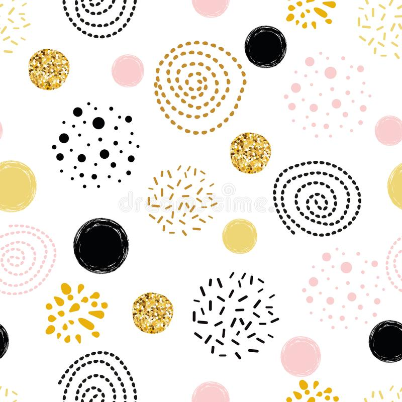 Wektorowy bezszwowy deseniowy abstrakcjonistyczny ornament dekorujący polki kropki złotej, różowej, czarnej ręki okręgu rysujący  royalty ilustracja