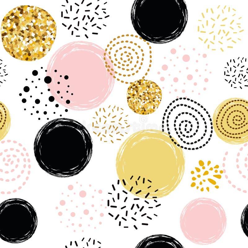 Wektorowy bezszwowy deseniowy abstrakcjonistyczny ornament dekorujący polki kropki złotej, różowej, czarnej ręki rysujący element royalty ilustracja