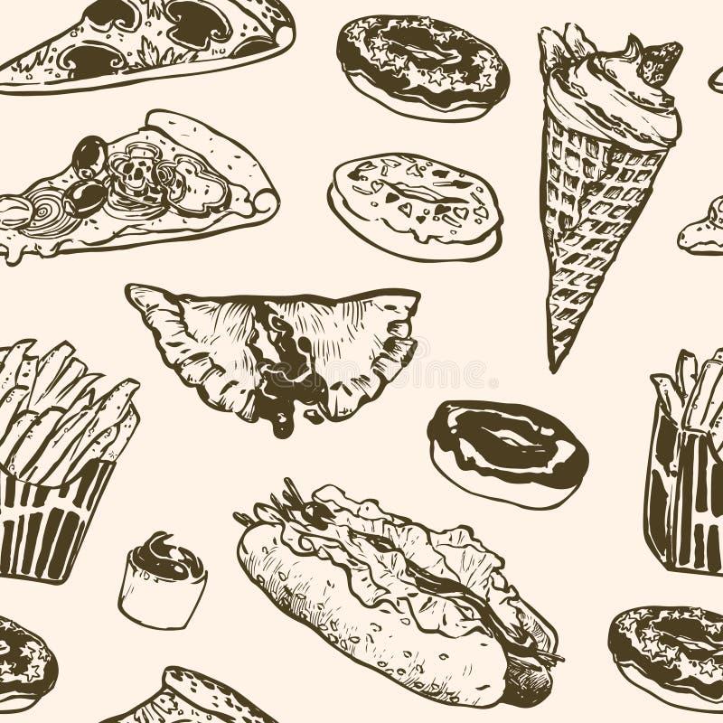 Wektorowy bezszwowy deseniowy fast food Hamburger, pączek, lody, hot dog, francuscy dłoniaki, pizza ilustracja wektor