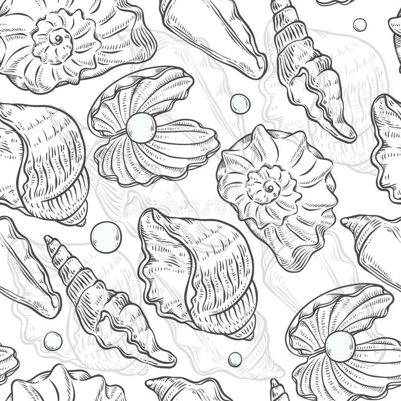 Wektorowy bezszwowy deseniowy morze łuska różnych kształty i operla Clamshells konturu monochromatyczny czarny biały nakreślenie ilustracji