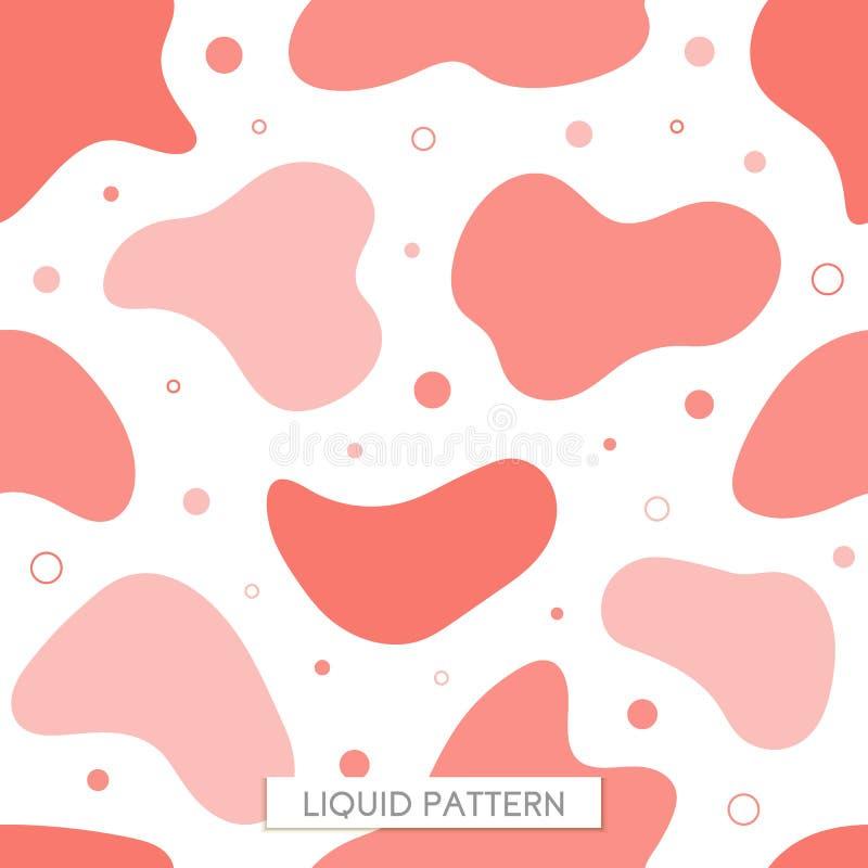 Wektorowy bezszwowy deseniowy rzadkopłynny koralowy tło Grafika dla modnisiów dynamiczny ramowy elegancki organicznie ciecz royalty ilustracja