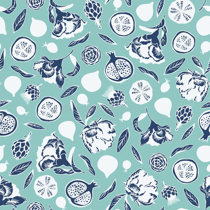 Wektorowy bezszwowy deseniowy tło z elementami kwitnie, liście, figi owoc, granatowiec, jagody, karczochy w bielu royalty ilustracja