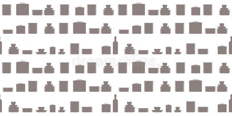 Wektorowy bezszwowy deseniowy zmrok - szarych kształtów crockery talerzy potrawki cookware rabatowy kucharz protestuje na białym  ilustracji