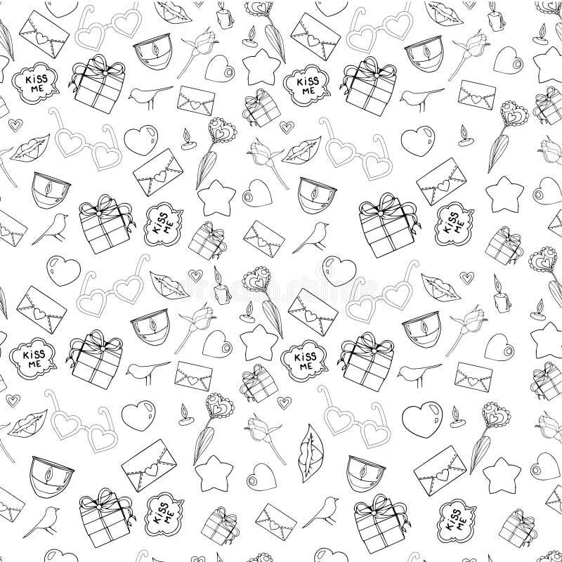 Wektorowy bezszwowy doodles walentynki ` s wzór zdjęcie royalty free