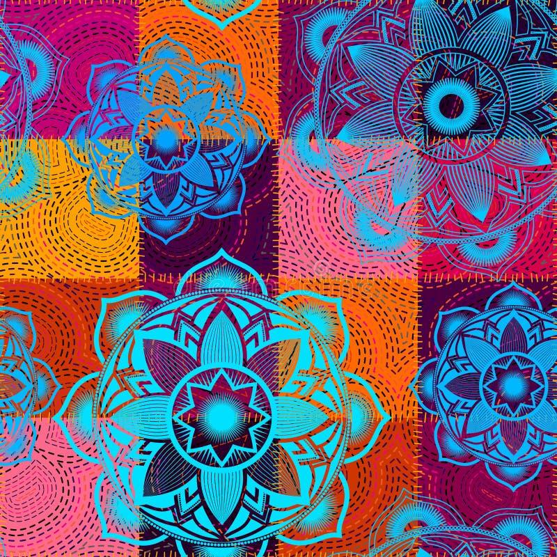 Wektorowy bezszwowy etniczny patchworku wzór royalty ilustracja