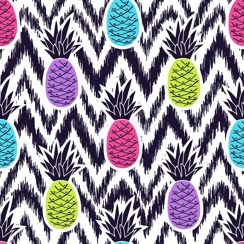 Wektorowy bezszwowy etniczny wzór z ananasami royalty ilustracja