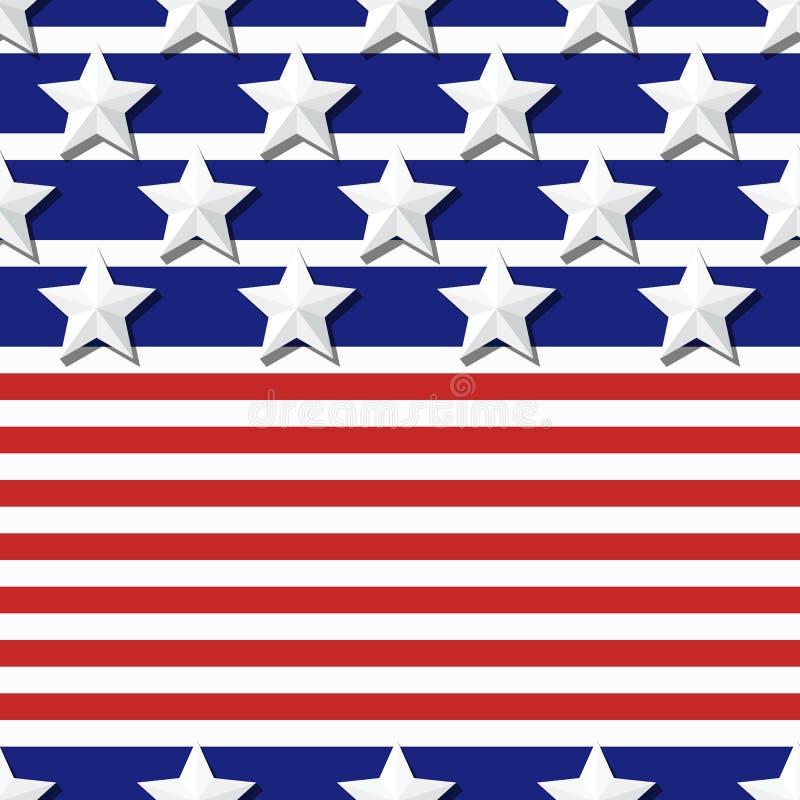 Wektorowy bezszwowy flaga wzór z 3d stylizującym gra główna rolę na błękita i czerwieni lampasach ilustracji