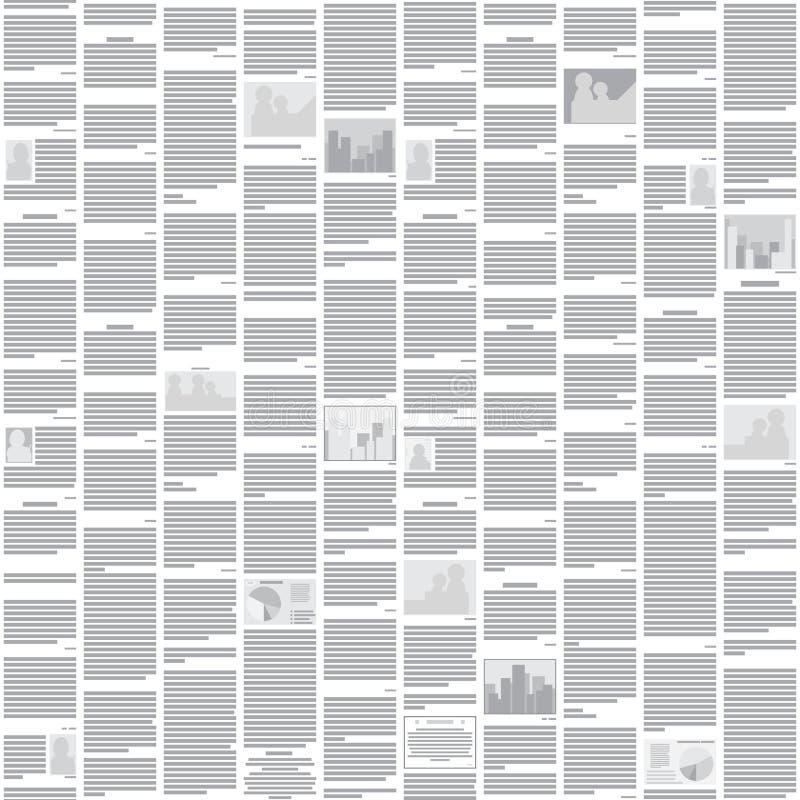 Wektorowy bezszwowy gazeta wzór - abstrakcjonistyczny monoc ilustracja wektor
