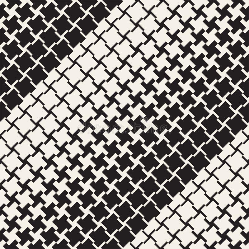 Wektorowy bezszwowy geometryczny wzór Halftone koloru gradientowa przemiana Tkanych linii Prosta kratownica ilustracji