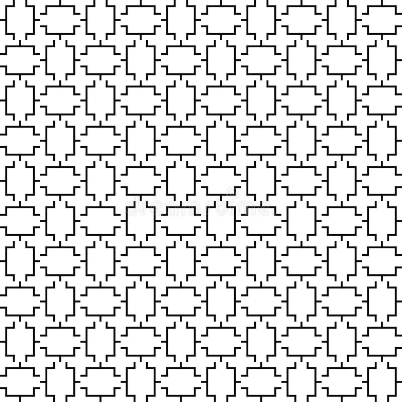 Wektorowy bezszwowy geometryczny wzór kreskowa tekstura Czarno biały tło Monochromatyczny projekt royalty ilustracja