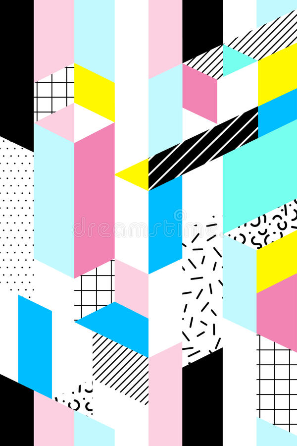 Wektorowy bezszwowy geometryczny wzór Memphis styl Abstrakt 80s royalty ilustracja
