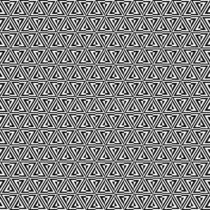 Wektorowy bezszwowy geometryczny wzór Tekstura od dzielących trójboków Czarno biały tło Monochromatyczny projekt ilustracja wektor