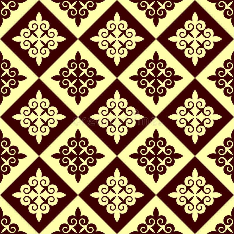 Wektorowy bezszwowy geometryczny wzór w etnicznym obywatela stylu Kazachstan, Azja ilustracja wektor