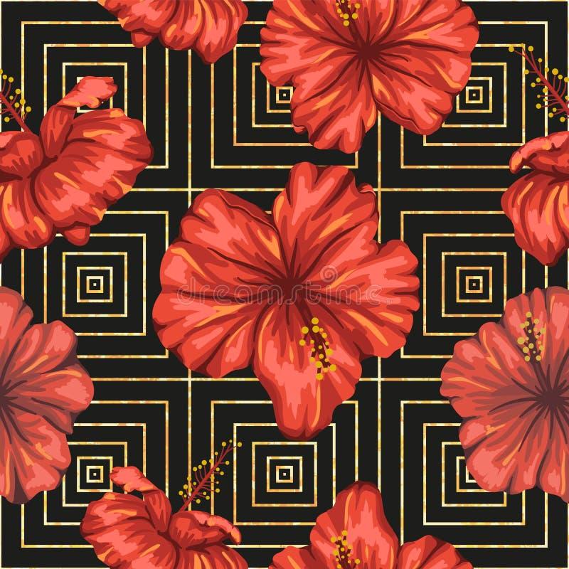 Wektorowy bezszwowy geometryczny wzór z jaskrawym czerwonym poślubnikiem kwitnie na czarnym tle royalty ilustracja