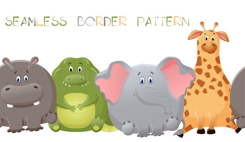 Wektorowy bezszwowy granica wzór z słoniem, żyrafą, krokodylem i hipopotamem, ?liczny gruby posta? z kresk?wki Poj?cie zabawa royalty ilustracja