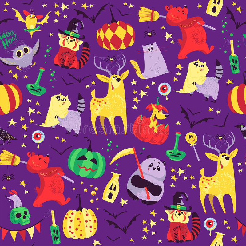 Wektorowy bezszwowy Halloween wzór z magicznymi tradycyjnymi elementami na purpurowym tle ilustracja wektor