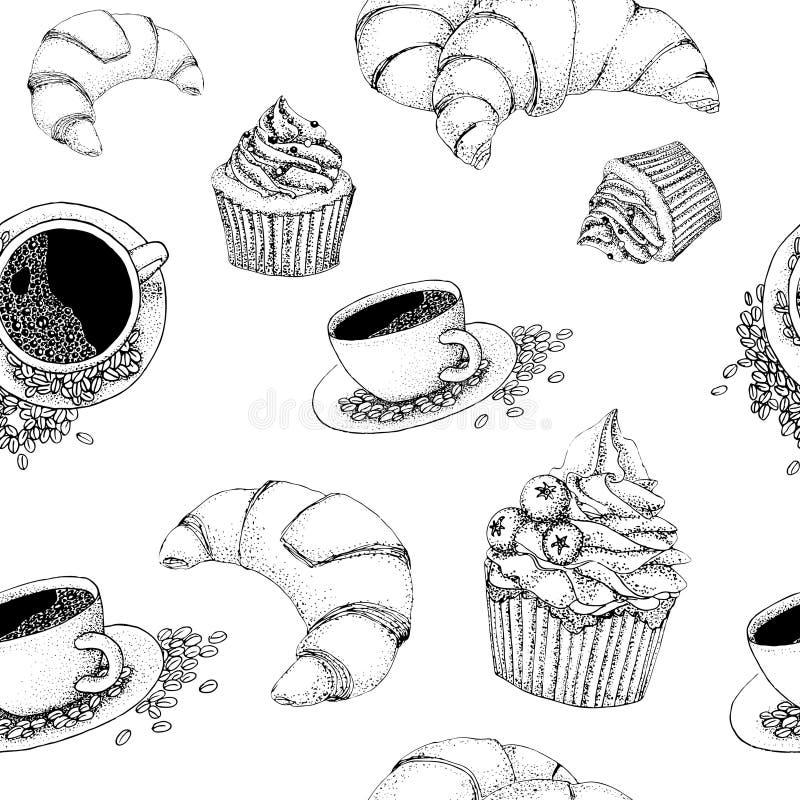 Wektorowy bezszwowy kawa wzór ilustracja wektor