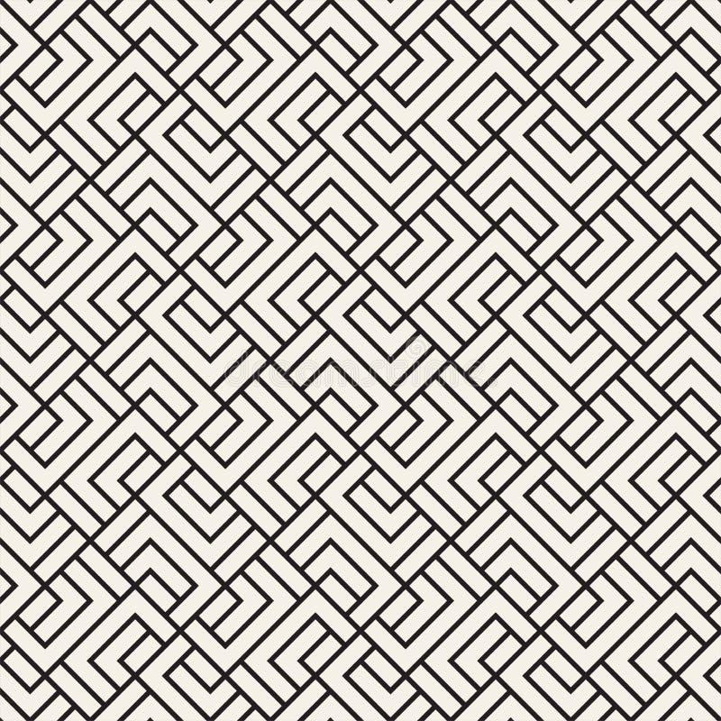 Wektorowy bezszwowy kratownica wzór Nowożytna elegancka tekstura z monochromatycznym trellis Wielostrzałowa geometryczna siatka p ilustracji
