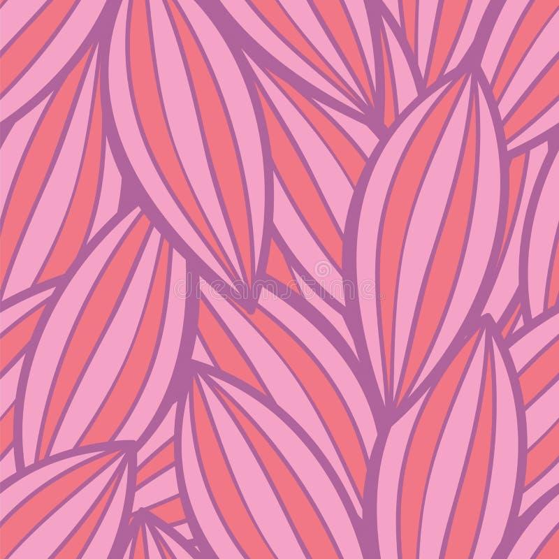 Wektorowy bezszwowy kwiecisty tło wzór w różowych i czerwonych kolorach royalty ilustracja