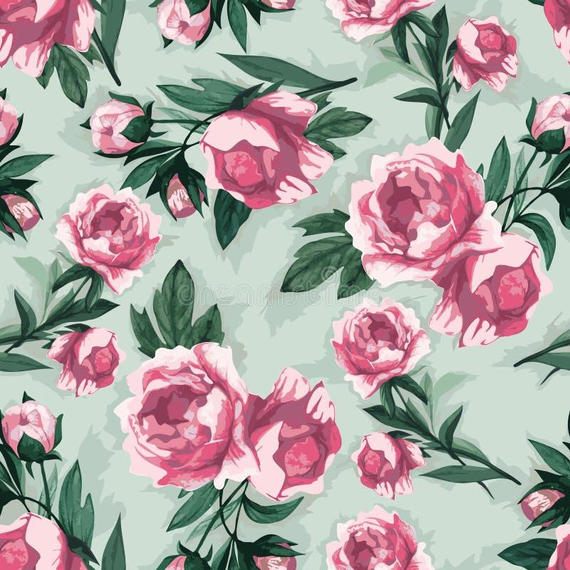 Wektorowy bezszwowy kwiecisty wzór z różowymi różami, akwarela royalty ilustracja