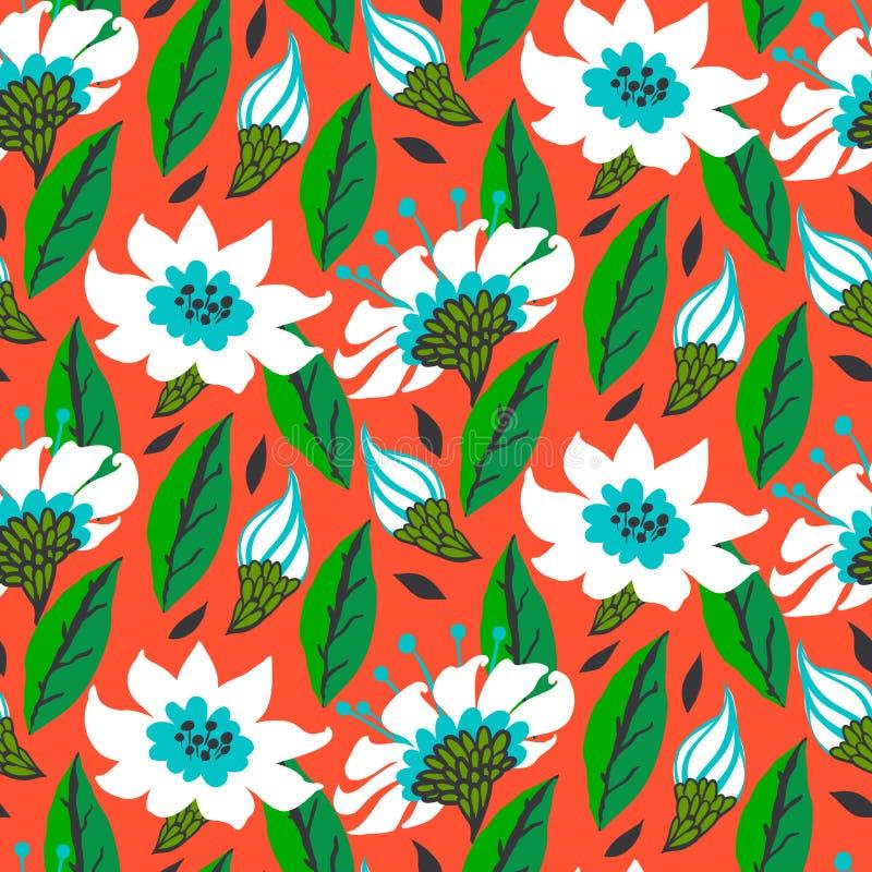 Wektorowy bezszwowy kwiecisty wzór z stokrotka kwiatami royalty ilustracja