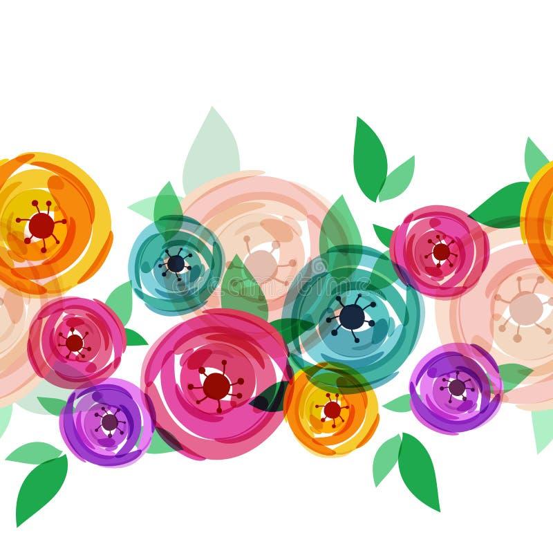 Wektorowy bezszwowy lata tło z abstrakcjonistyczną multicolor różą ilustracji