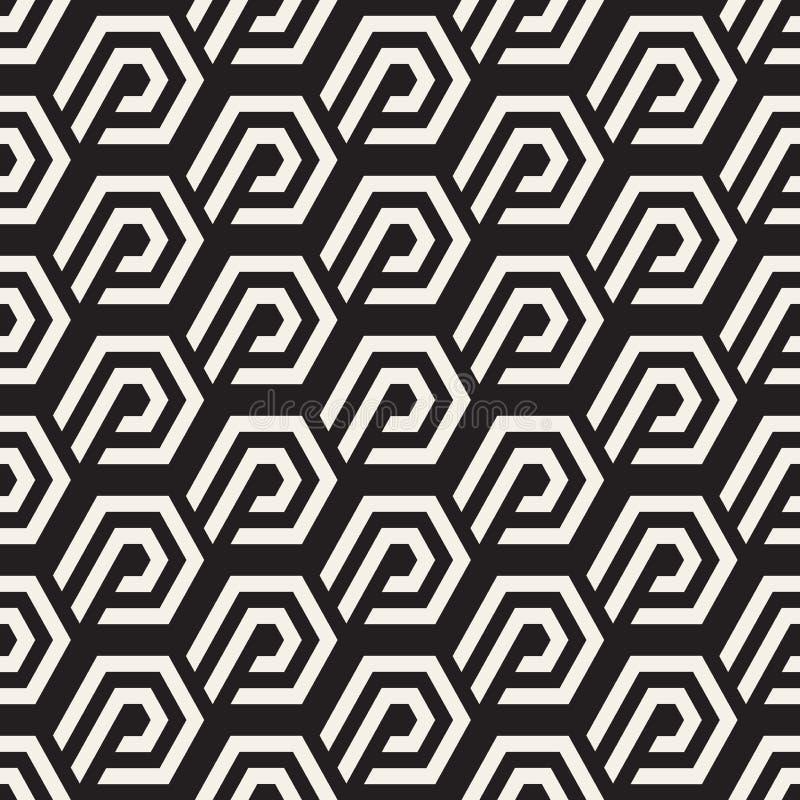 Wektorowy Bezszwowy linia wzór Nowożytna elegancka abstrakcjonistyczna tekstura Wielostrzałowe geometryczne płytki z lampasów ele ilustracji