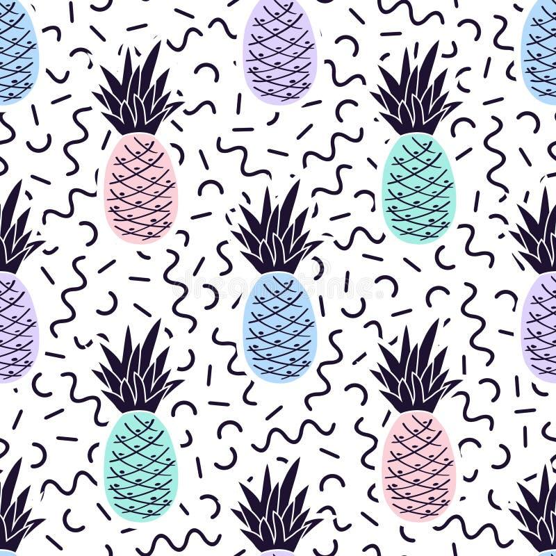 Wektorowy bezszwowy Memphis wzór z ananasami royalty ilustracja