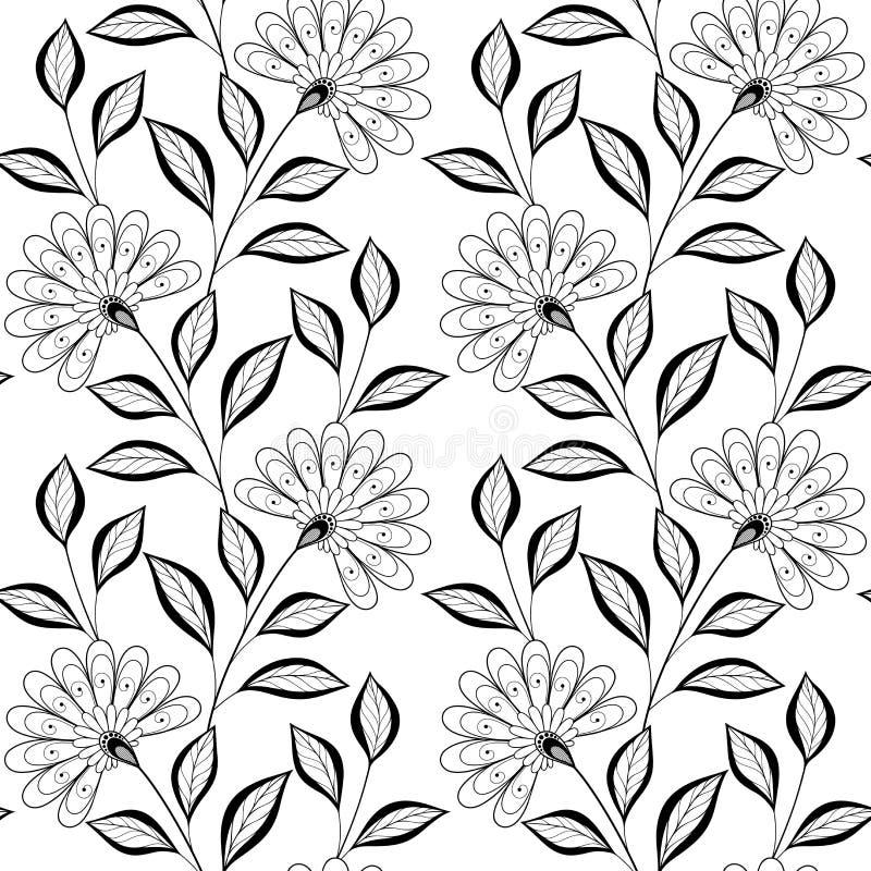 Download Wektorowy Bezszwowy Monochromatyczny Kwiecisty Wzór Ilustracja Wektor - Ilustracja złożonej z hipis, kolorystyka: 57661875