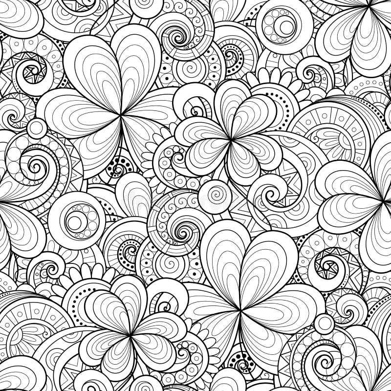 Wektorowy Bezszwowy Monochromatyczny Kwiecisty wzór z Dekoracyjną koniczyną i monetami ilustracja wektor
