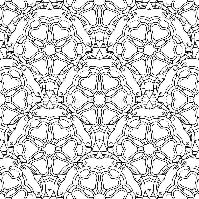 Wektorowy bezszwowy monochromu wzór Printable kolorystyk strony ilustracji