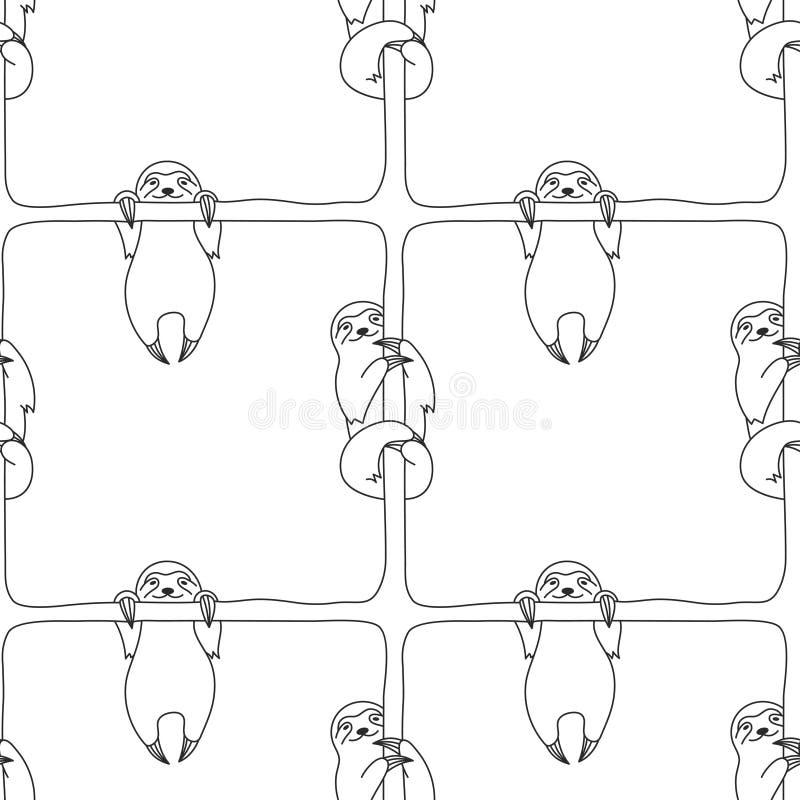 Wektorowy bezszwowy monochromu wzór z śliczną szczęśliwą uśmiechniętą opieszałością royalty ilustracja