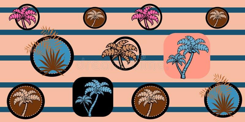 Wektorowy bezszwowy morze wzór z drzewkami palmowymi na pasiastym tle deseniowy tropikalny ilustracji
