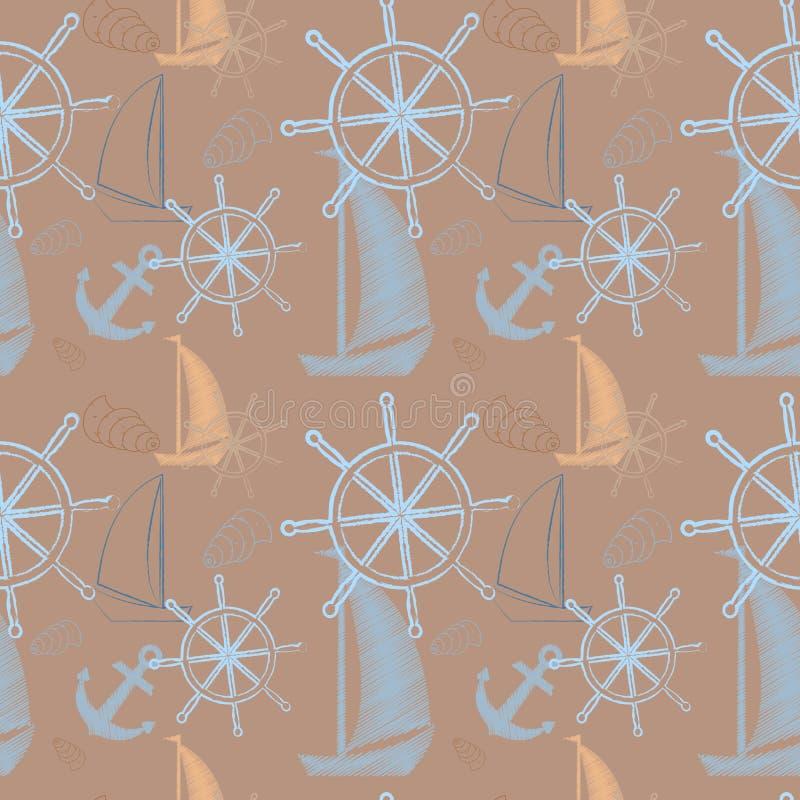 Wektorowy bezszwowy morze wzór z statkami, statku ` s koło, kotwica Kreskówka druk również zwrócić corel ilustracji wektora royalty ilustracja