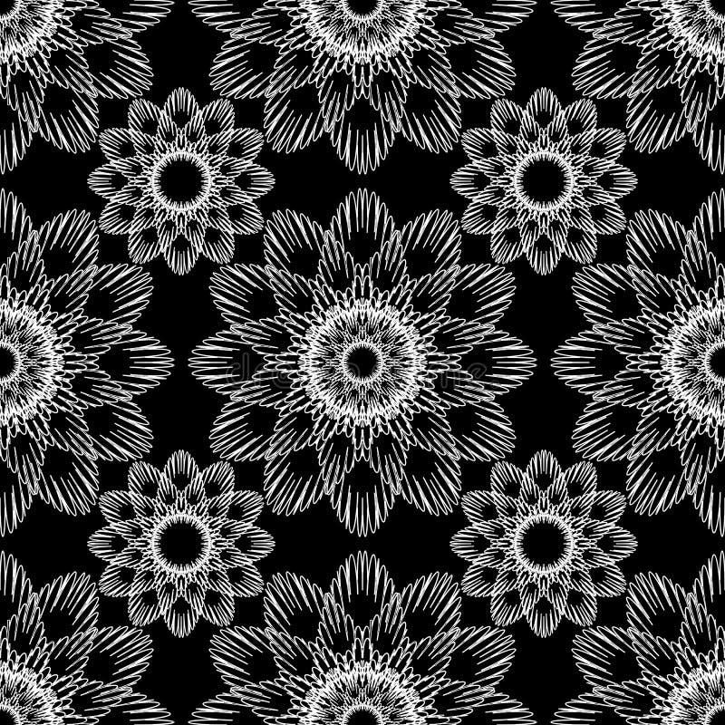 Wektorowy bezszwowy ornamentacyjny czarny i biały wzór royalty ilustracja