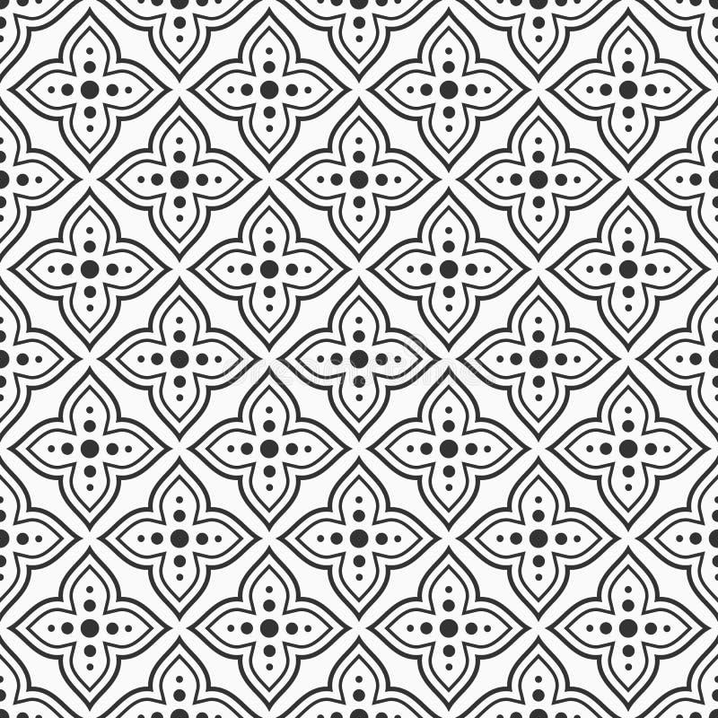 Wektorowy bezszwowy ornamentacyjny wzór arabski styl Tradycyjny motyw nowożytna elegancka tekstura Podłogowe płytki ilustracji