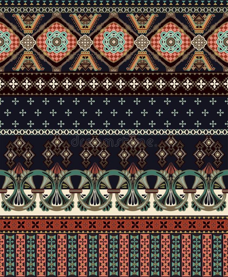 Wektorowy bezszwowy ornamentacyjny wzór ornamentacyjny graniczny czarnooki twarzy seksowna kobieta stylowa mody Projekt dla tkani ilustracja wektor