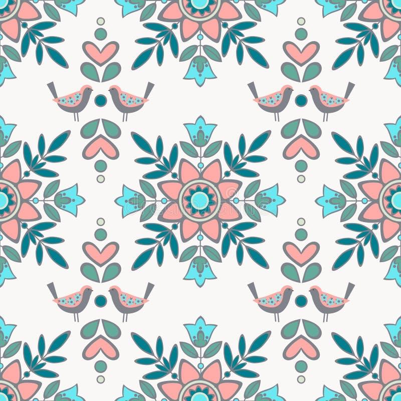 Wektorowy bezszwowy ornamentu wzór z elementami kwiaty i ilustracja wektor