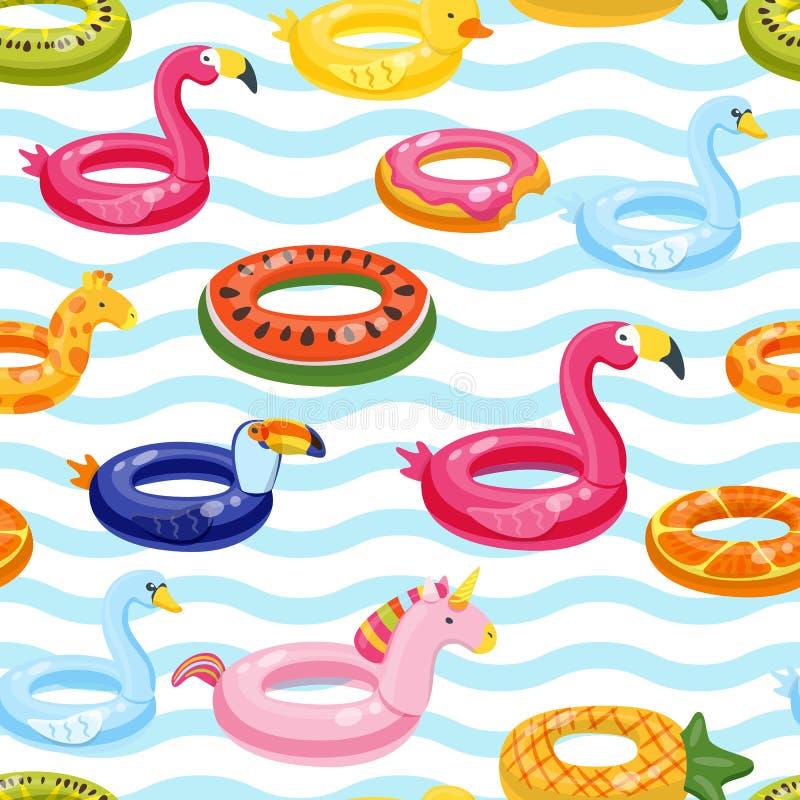 Wektorowy bezszwowy pływackiego basenu pławika pierścionków wzór Multicolor nadmuchiwane śliczne dzieciak zabawki i pasiasty tło royalty ilustracja