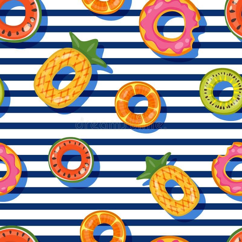 Wektorowy bezszwowy pływackiego basenu pławika pierścionków wzór Odgórnego widoku dzieciaków nadmuchiwane zabawki Projekt dla lat royalty ilustracja