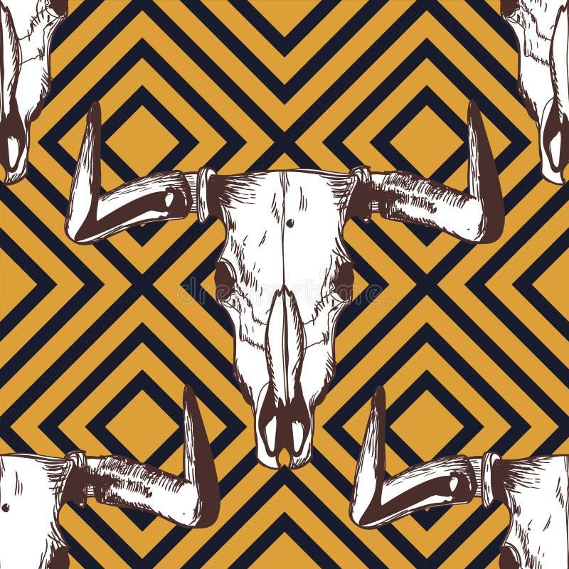 Wektorowy bezszwowy pasiasty wzór z ręki rysować bawolimi czaszkami Plemienny grunge ornament ilustracji