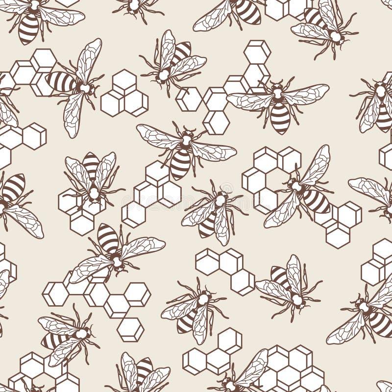 Wektorowy bezszwowy pastel barwił wzór z liniową pszczołą i honeycombs Organicznie miodowy tło ilustracja wektor