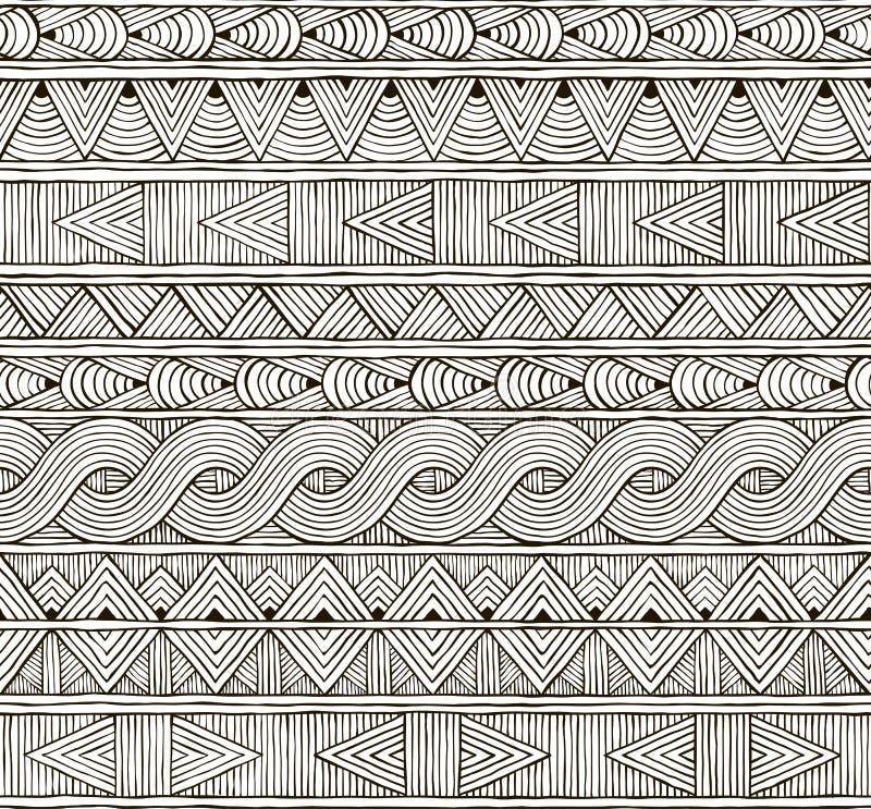 Wektorowy bezszwowy plemienny wzór Pociągany ręcznie ilustracja wektor