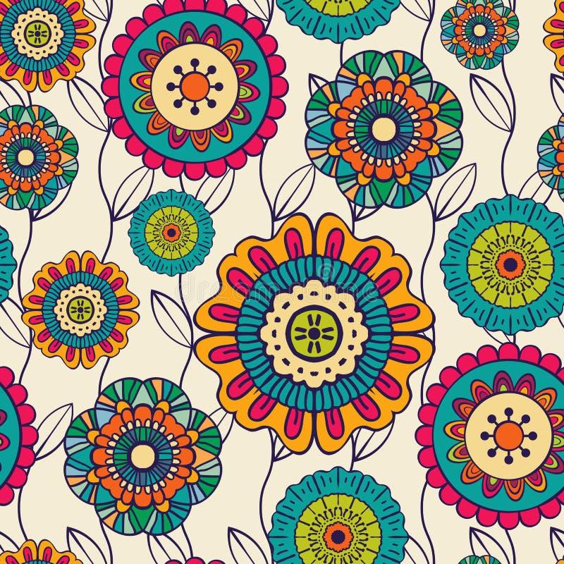 Wektorowy bezszwowy pociągany ręcznie wzór z kwiatami i liśćmi ilustracja wektor
