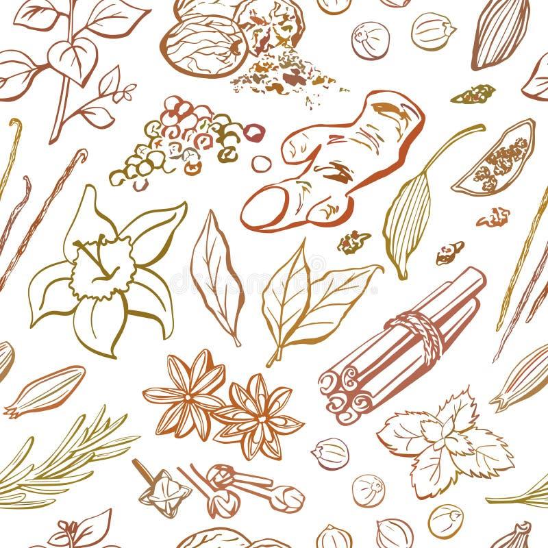 Wektorowy bezszwowy powtórkowy wzór pikantność i ziele ilustracji