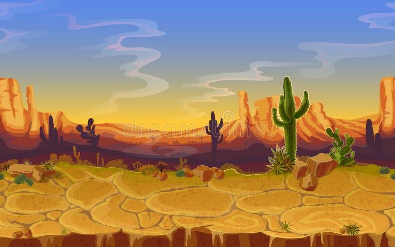 Wektorowy bezszwowy pustynny horyzontalny krajobraz royalty ilustracja