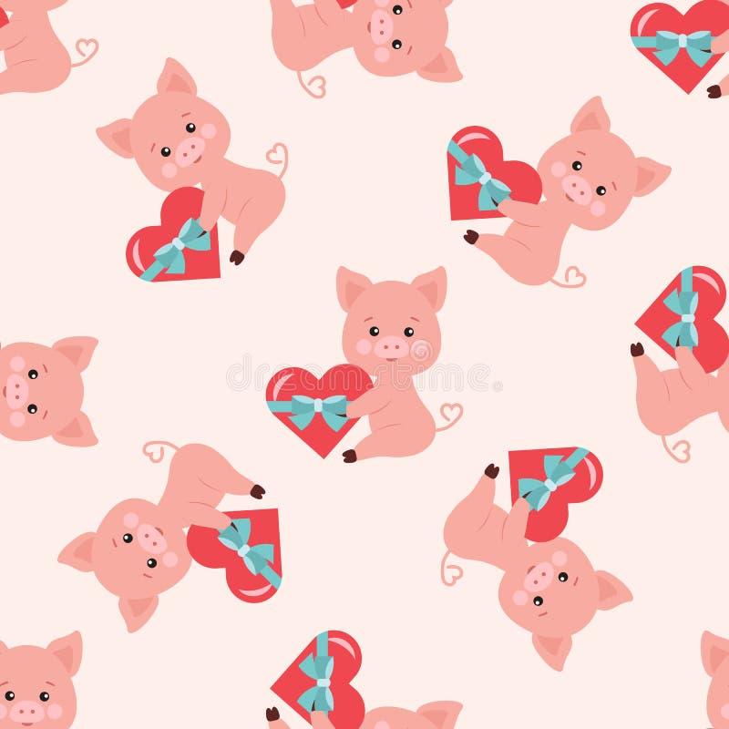 Wektorowy bezszwowy romantyczny wzór z śliczną świnią z czerwonym sercem wiązał z błękitnym faborkiem w łapach ilustracji